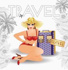 Summer travel  pin up girl, vector illustration