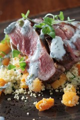lamb with couscous plated meal