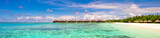 Panoramic view of iidyllic tropical beach with white sand and - 81958338