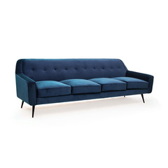 Blue suede sofa front view