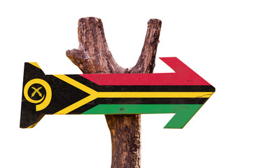 Vanuatu Flag wooden sign isolated on white background