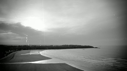 Time-lapse scenery in black and white - old movie