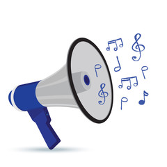 megaphone, witth, music, notes, isolated, vector, illustration