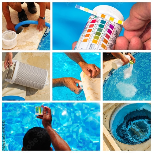 collage maintenance of a private pool - 81959353