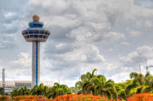 Fotobehang Luchthaven Singapore Changi Airport Traffic Controller Tower
