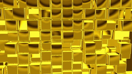 Gold Cubes motion background, seamless looping
