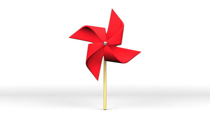 Red Pinwheel On White Background