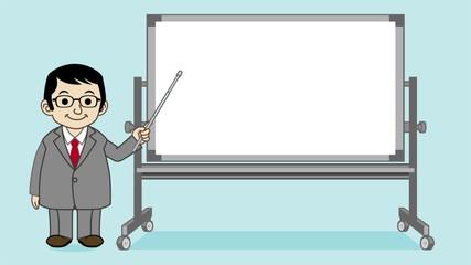 Businessman explaining with Whiteboard