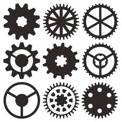 Vector collection of gear wheels