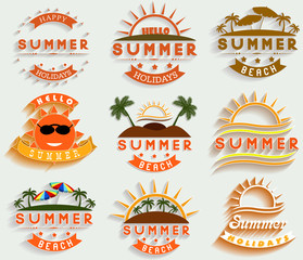 Retro summer holidays  labels and signs