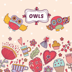 Cute postcard witrh owls.