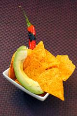 tortilla with chili and avocado