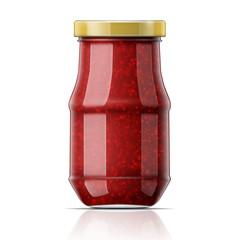Jar with raspberry jam.