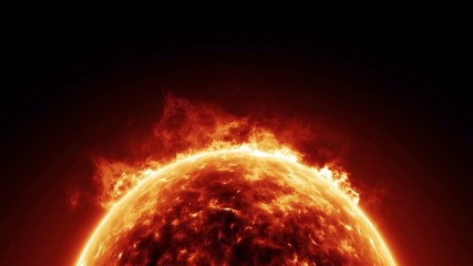 digital perfectly seamless loop of sun on fire HD animation