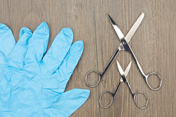 Big and small silver surgical scissors with blue latex glove