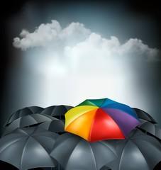 A rainbow umbrella amongst grey ones. Uniqueness concept. Vector