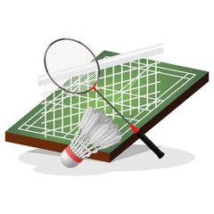 Badminton Field and Ball Vector Illustration