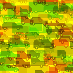 Flat simple color little cars vector seamless pattern
