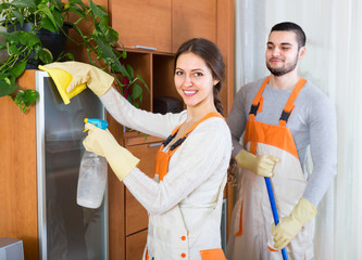 Portrait of professional cleaners