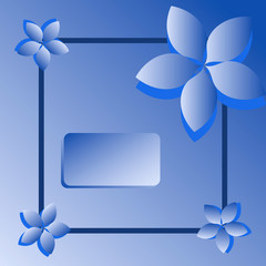 illustration blue card with flowers