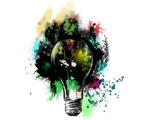 Illustration of Lightbulb with Paint Splatter