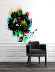 Modern Grey Chair with Abstract Lightbulb Art on Wall