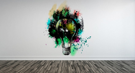 Abstract Lightbulb Art on Wall with Wood Floor