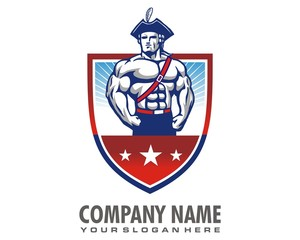 soldier muscle logo image vector