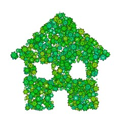 Abstract house made of green flowers.