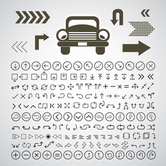 car and arrow symbol