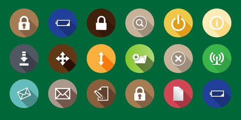 set of computer icons in a flat design. long shadows