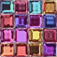 The colorful tiles from the shiny glass blocks.