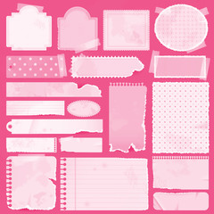 Various pink remnant pieces of paper, scrapbook, and note board