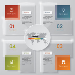 4 steps chart template/graphic or website layout.