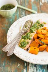 Salmon dish with parsley pesto