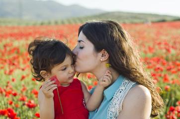 Spring motherhood at sunset