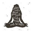 Woman silhouette sitting in lotus pose of yoga. - 81970359