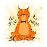 Cartoon red cat sitting on lotus position of yoga.