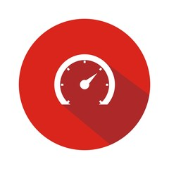 Icono velocímetro 2 rojo botón sombra