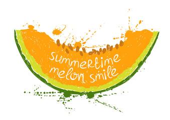 Illustration with isolated orange slice of melon.