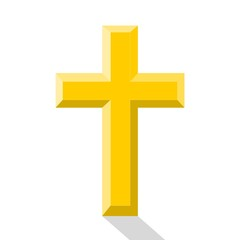 Gold cross with shadow - illustration
