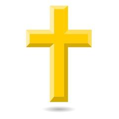 Gold cross isolated on white - illustration