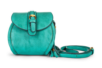 green sea ladies leather bag on an isolated white background