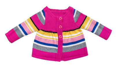 stylish baby sweater with stripes isolated on white background