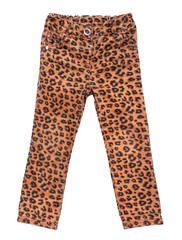 stylish children's jeans with leopard print on an isolated white