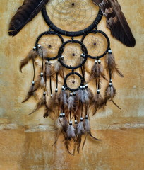 dream catcher with eagle and raven feathers on orange structure