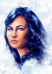 Ice queen - beautiful woman in winter, painting collage