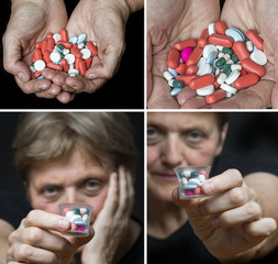 old hands with pills