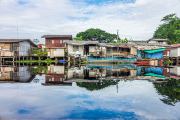 Poor old wooden village at riverside in Thailand