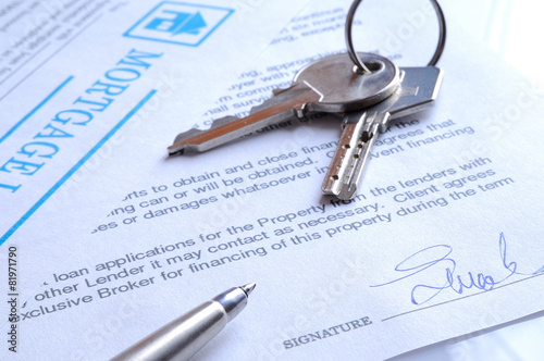 Mortgage contract signed closeup - 81971790